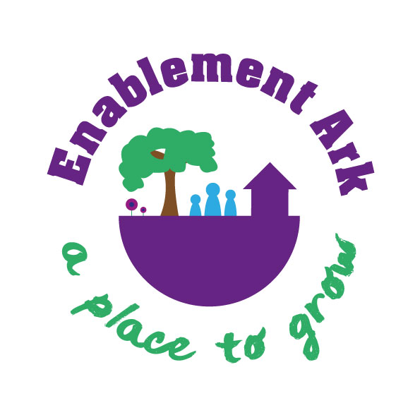 The Enablement Ark logo has the words 'Enablement Ark' in purple writing at the top, an ark shaped boat in the middle, with a barn, tree and people on it. Under the boat picture are the words 'a place to grow'